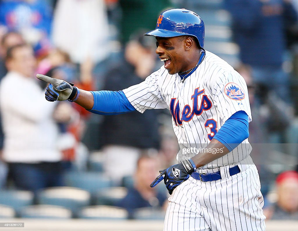 Curtis Granderson #3 of the New York Mets celebrates his solo home run in the eighth inning against the Washington Nationals on October 4, 2015 at Citi Field in the Flushing neighborhood of the Queens borough of New York City.