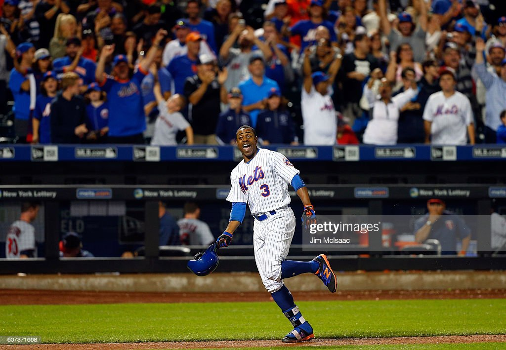 Curtis Granderson #3 of the New York Mets celebrates his twelfth inning game winning home run against the Minnesota Twins at Citi Field on September 17, 2016 in the Flushing neighborhood of the Queens borough of New York City.