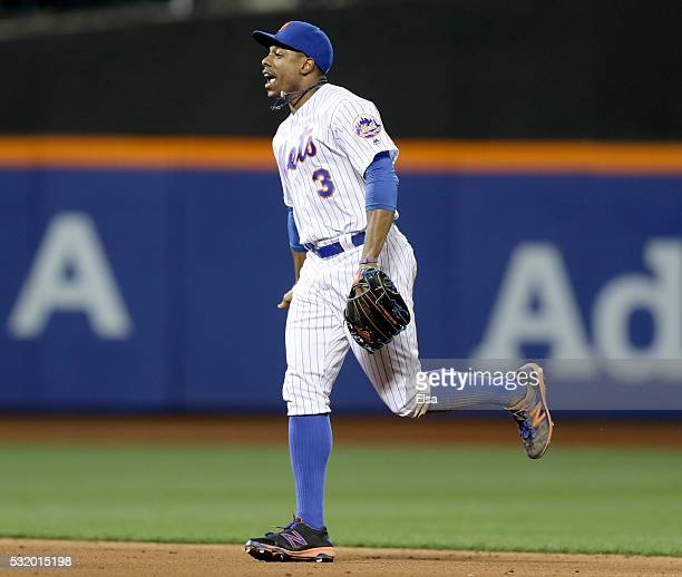Curtis Granderson of the New York Mets celebrates the 20 win over the Washington Nationals at Citi Field on May 17 2016 in the Flushing neighborhood...