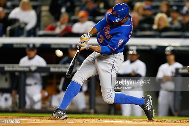 Curtis Granderson of the New York Mets connects on a solo home run in the first inning against the New York Yankees on April 26 2015 at Yankee...