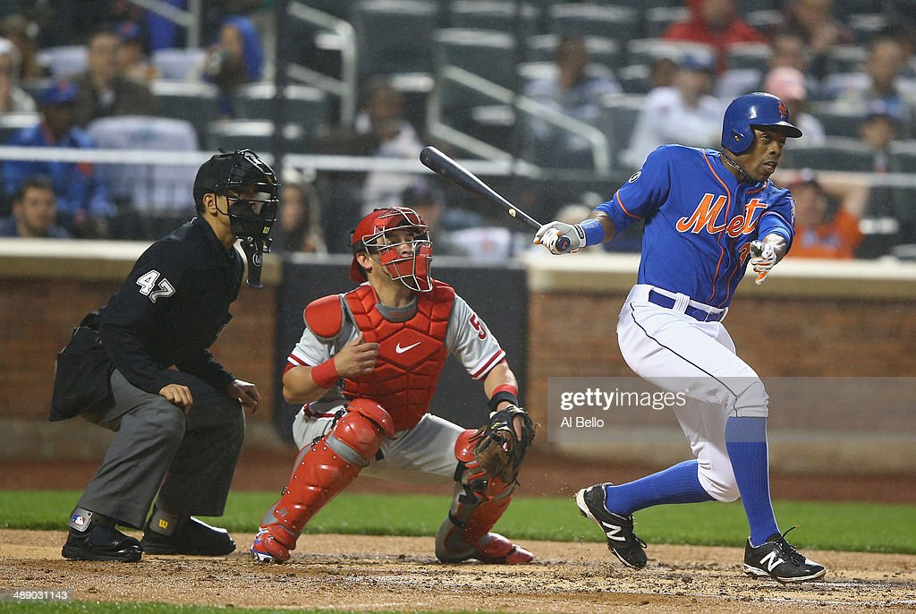 Curtis Granderson #3 of the New York Mets hits a double and drives in a run in the first inning against the Philadelphia Phillies during their game on May 9, 2014 at Citi Field in the Flushing neighborhood of the Queens borough of New York City.