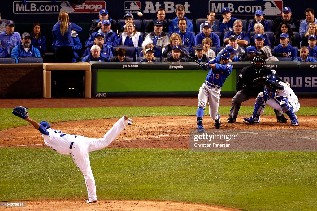 Curtis Granderson #3 of the New York Mets hits a solo home run in the fifth inning against the Kansas City Royals during Game One of the 2015 World Series at Kauffman Stadium on October 27, 2015 in Kansas City, Missouri.