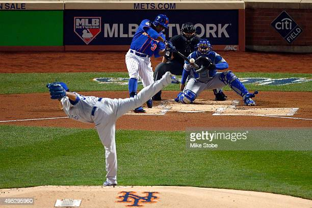 Curtis Granderson of the New York Mets hits a solo home run in the first inning against the Kansas City Royals during Game Five of the 2015 World...