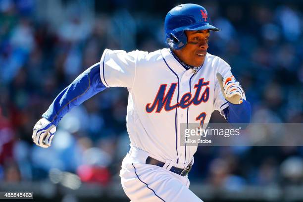 Curtis Granderson of the New York Mets in action against the Atlanta Braves at Citi Field on April 20 2014 in the Flushing neighborhood of the Queens...