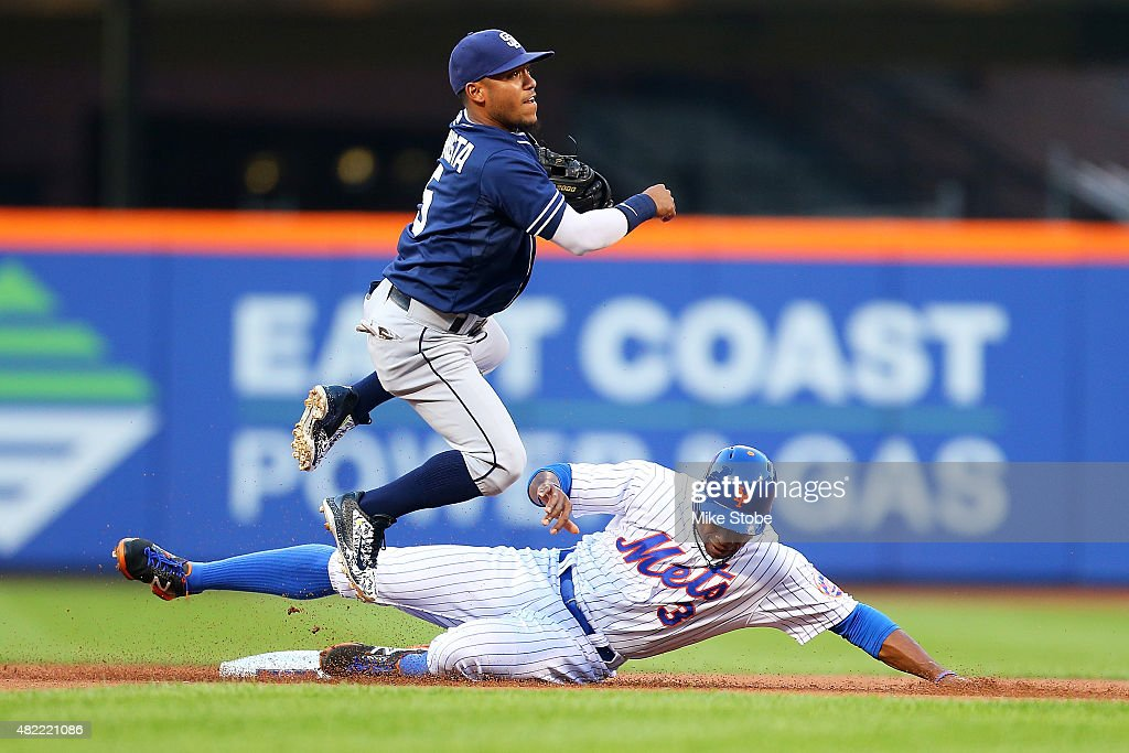 Curtis Granderson #3 of the New York Mets is forced out as Alexi Amarista #5 of the San Diego Padres completes the double play in the first inning at Citi Field on July 28, 2015 in Flushing neighborhood of the Queens borough of New York City.
