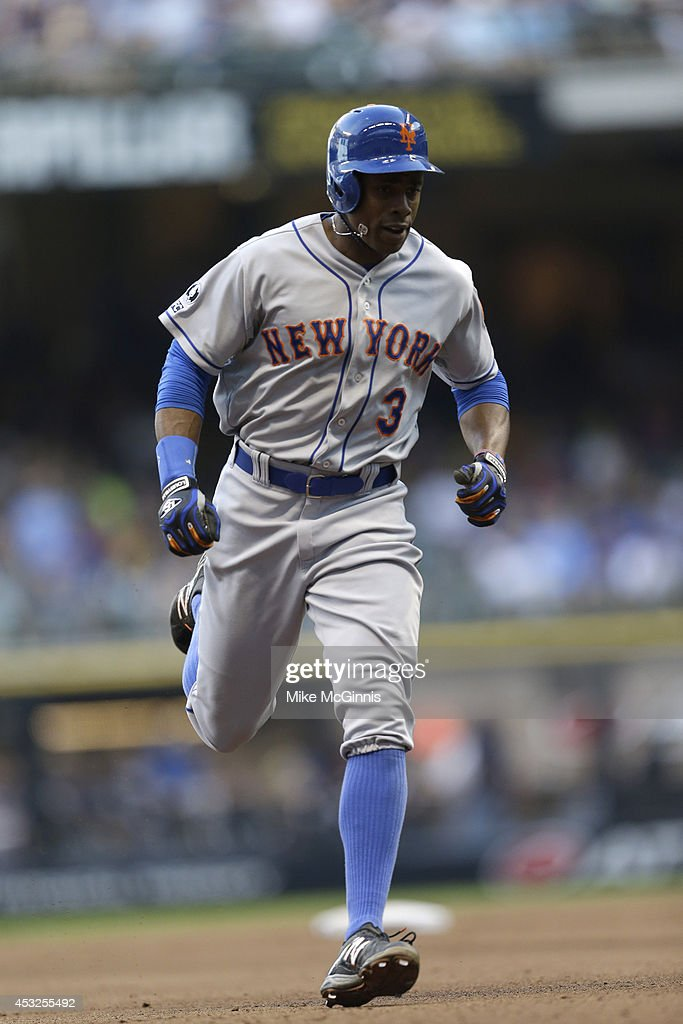 Curtis Granderson #3 of the New York Mets runs the bases after hitting a home run during the Interleague game against the Milwaukee Brewers at Miller Park on July 26, 2014 in Milwaukee, Wisconsin.