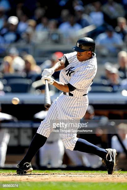Curtis Granderson of the New York Yankees bats against the Los Angeles Angels of Anaheim at Yankee Stadium on April 14 2010 in the Bronx borough of...
