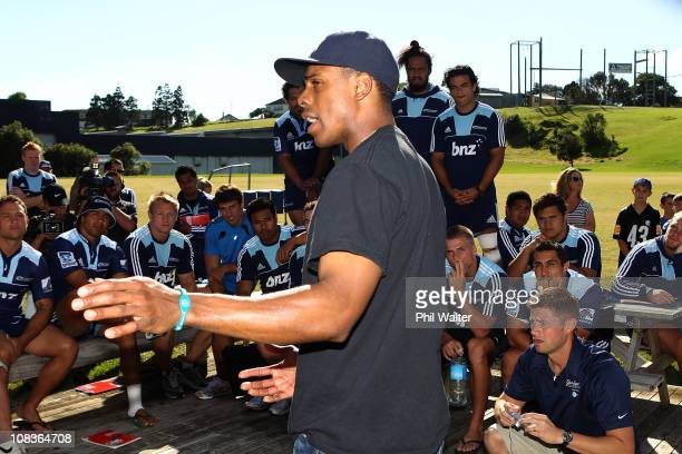 Curtis Granderson of the New York Yankees meets with the Auckland Blues rugby team at their Unitec training facility on January 27 2011 in Auckland...