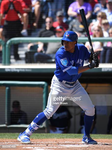 Curtis Granderson of the Toronto Blue Jays in action during the spring training game between the Atlanta Braves and the Toronto Blue Jays at Champion...