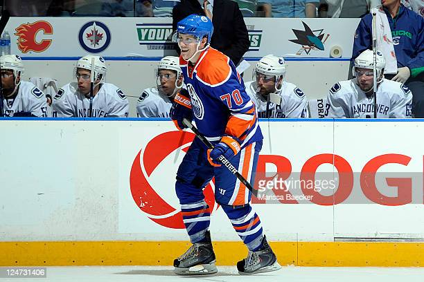Curtis Hamilton of the Edmonton Oilers skates on the ice against the Vancouver Canucks at the 2001 Vancouver Canucks NHL Young Stars Tournament at...