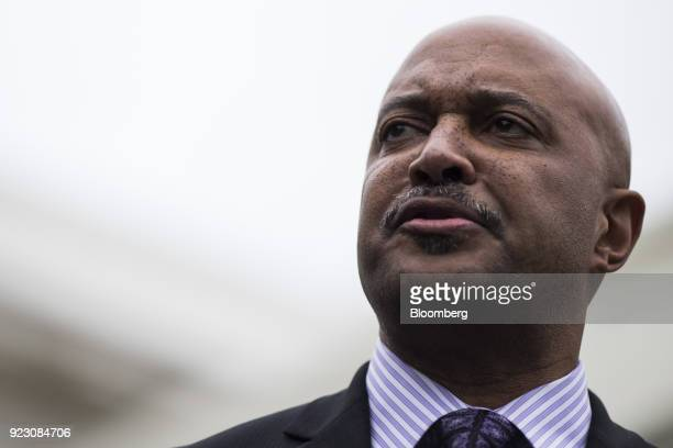Curtis Hill Indiana attorney general speaks during a press conference following a meeting with US President Donald Trump not pictured on school...
