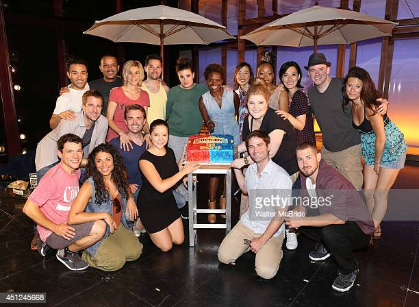 Curtis Holbrook James Snyder Jerry Dixon Jenn Colella Jason Tam Idina Menzel and LaChanze with the ensemble cast attend the If/Then 100th performance...