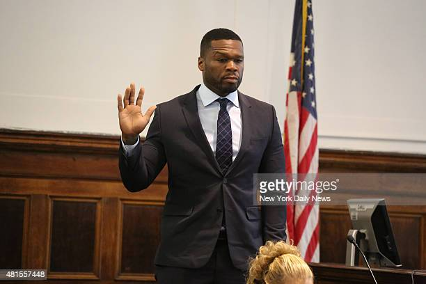 Curtis Jackson aka 50 Cent appears in Manhattan Supreme Court on Tuesday July 21 2015 He was testifying in a lawsuit for a sex tape he allegedly...