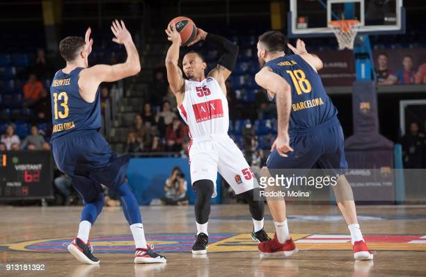 Curtis Jerrells #55 of AX Armani Exchange Olimpia Milan in action during the 2017/2018 Turkish Airlines EuroLeague Regular Season Round 21 game...