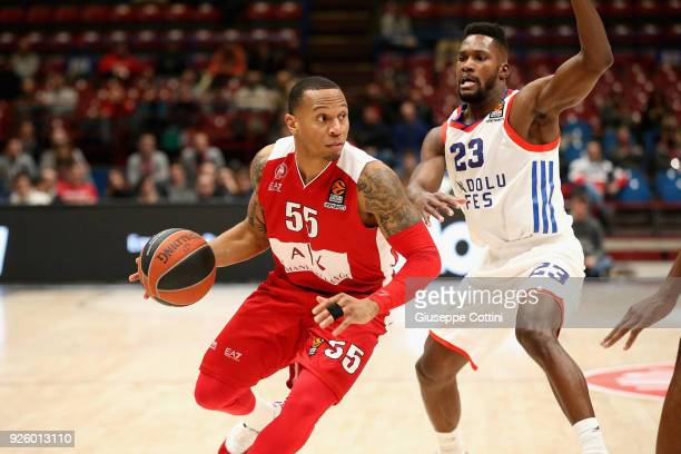 Curtis Jerrells #55 of AX Armani Exchange Olimpia Milan in action during the 2017/2018 Turkish Airlines EuroLeague Regular Season Round 24 game...