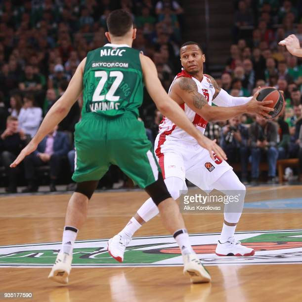 Curtis Jerrells #55 of AX Armani Exchange Olimpia Milan in action during the 2017/2018 Turkish Airlines EuroLeague Regular Season Round 27 game...