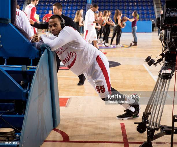 Curtis Jerrells #55 of AX Armani Exchange Olimpia Milan stretching prior the 2017/2018 Turkish Airlines EuroLeague Regular Season Round 21 game...