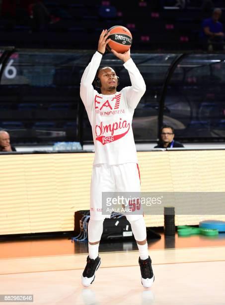Curtis Jerrells #55 of AX Armani Exchange Olimpia Milan warmsup prior to the 2017/2018 Turkish Airlines EuroLeague Regular Season game between...