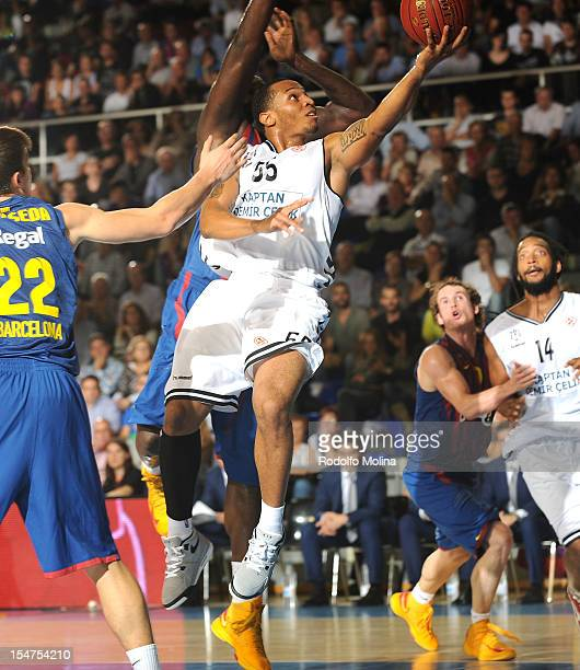 Curtis Jerrells #55 of Besiktas JK Istanbul in action during the 20122013 Turkish Airlines Euroleague Regular Season Game Day 3 between FC Barcelona...