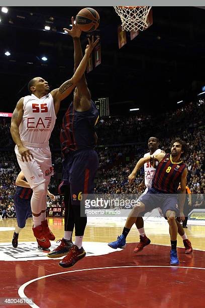 Curtis Jerrells, #55 of EA7 Emporio Armani Milan in action during the 2013-2014 Turkish Airlines Euroleague Top 16 Date 13 game between EA7 Emporio...