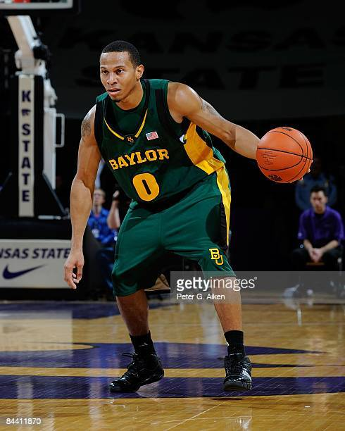 Curtis Jerrells of the Baylor Bears brings the ball up court against the Kansas State Wildcats on January 21, 2009 at Bramlage Coliseum in Manhattan,...