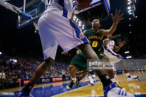 Curtis Jerrells of the Baylor Bears defends an inbounds pass against the Kansas Jayhawks on February 9, 2008 at Allen Fieldhouse in Lawrence, Kansas....