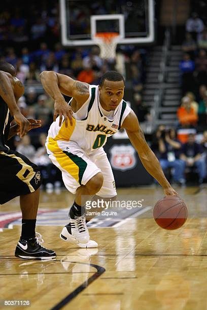 Curtis Jerrells of the Baylor Bears dribbles against the Colorado Buffaloes during day 1 of the Big 12 Men's Basketball Tournament on March 13 2008...