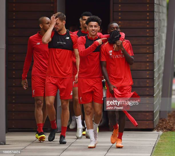 Curtis Jones and Rafael Camacho of Liverpool during a training session at Melwood Training Ground on July 17 2018 in Liverpool England