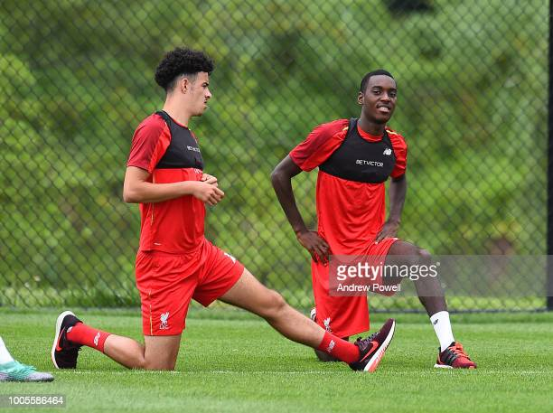 Curtis Jones and Rafael Camacho of Liverpool during a training session at the Red Bull Training Centre on July 26 2018 in Newark New Jersey