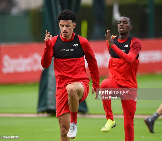 Curtis Jones and Rafael Camacho of Liverpool during a training session at Melwood Training Ground on August 28 2018 in Liverpool England