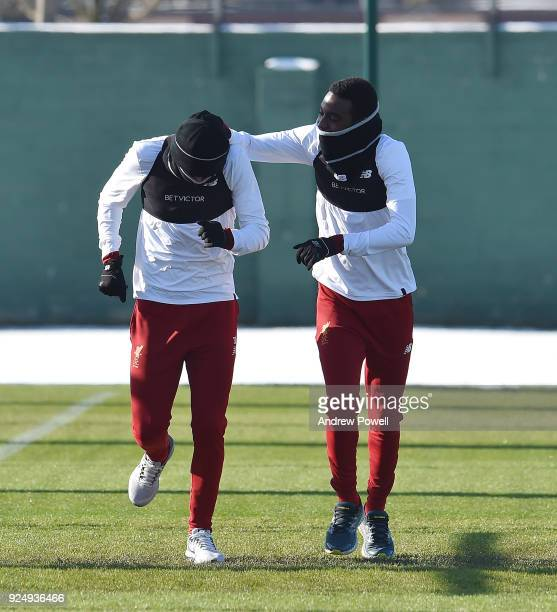 Curtis Jones and Rafael Camacho of Liverpool during a training session at Melwood Training Ground on February 27 2018 in Liverpool England