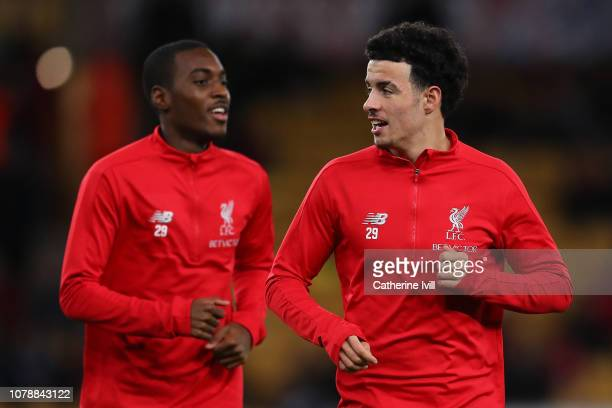 Curtis Jones and Rafael Camacho warm up for the Emirates FA Cup Third Round match between Wolverhampton Wanderers and Liverpool at Molineux on...