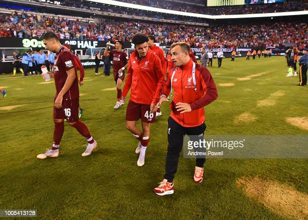Curtis Jones and Xherdan Shaqiri of Liverpool at the end of the International Champions Cup 2018 match between Manchester City and Liverpool at...