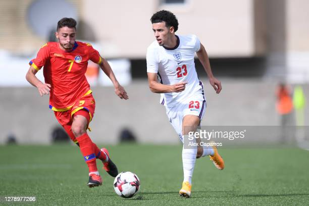 Curtis Jones of England and Alexandre Martinez Palau of Andorra in action during the UEFA Euro U21 Qualifier between Andorra U21 and England U21 at...