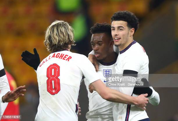 Curtis Jones of England celebrates scoring his teams first goal during the UEFA Euro Under 21 Qualifier match between England U21 and Andorra U21 at...