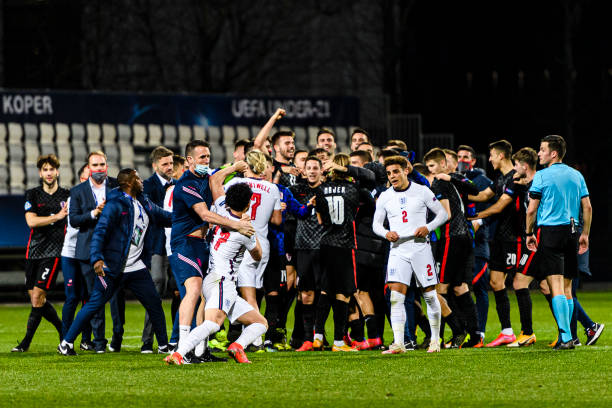 Curtis Jones of England during a altercation with Croatia players during the 2021 UEFA European Under-21 Championship Group D match between Croatia...