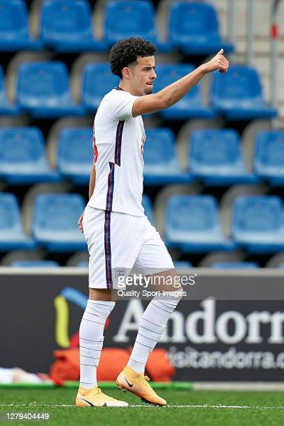 Curtis Jones of England reacts during the 2020 UEFA European Under21 Championship Group C Qualifier between Andorra and England at Estadi Nacional on...