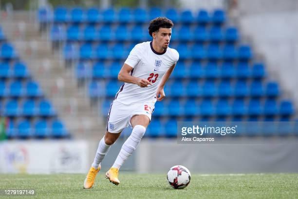 Curtis Jones of England runs with the ball during the UEFA Euro U21 Qualifier between Andorra U21 and England U21 at Estadi Nacional on October 07...