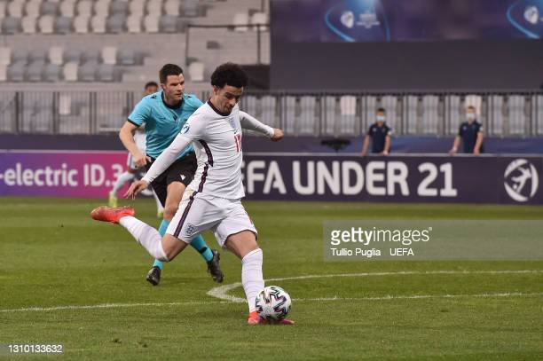 Curtis Jones of England scores their team's second goal during the 2021 UEFA European Under-21 Championship Group D match between Croatia and England...