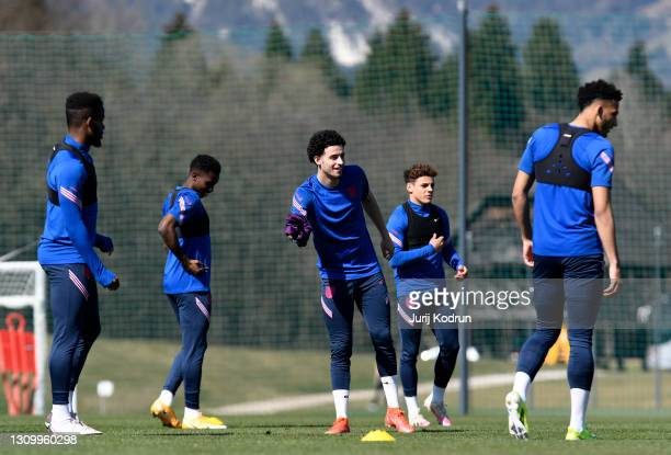 Curtis Jones of England smiles during an England Under-21 Training Session at NNC Brdo on March 30, 2021 in Kranj, Slovenia.