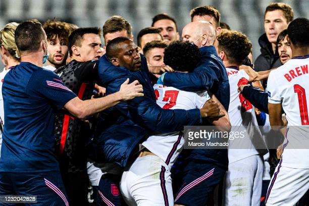 Curtis Jones of England starts a fight against Croatia players during the 2021 UEFA European Under-21 Championship Group D match between Croatia and...