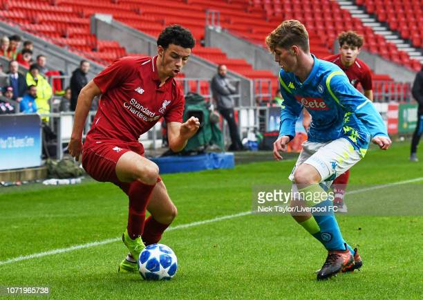 Curtis Jones of Liverpool and Alessio Esposito of SSC Napoli in action during the UEFA Youth League match between Liverpool and SSC Napoli at...