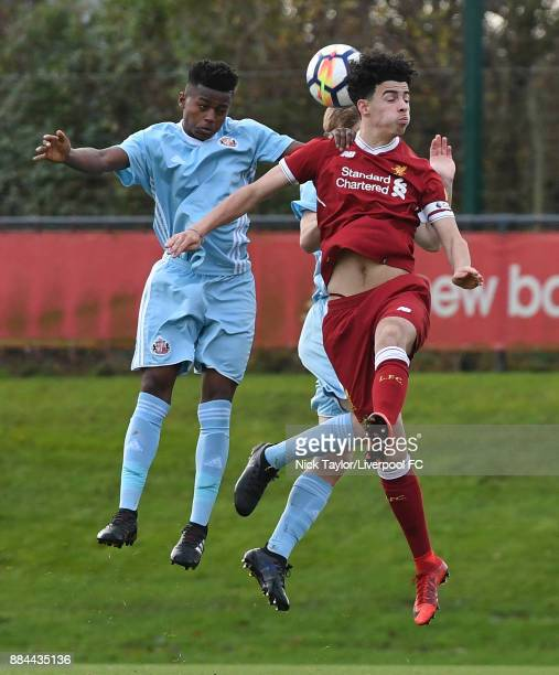 Curtis Jones of Liverpool and Bali Mumba of Sunderland in action during the Liverpool v Sunderland U18 Premier League Cup game at The Kirkby Academy...