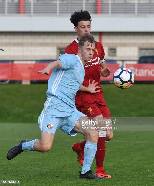 Curtis Jones of Liverpool and Kane Evans of Sunderland in action during the Liverpool v Sunderland U18 Premier League Cup game at The Kirkby Academy...