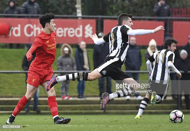 Curtis Jones of Liverpool and Kelland Watts of Newcastle United in action during the Liverpool v Newcastle United U18 Premier League game at The...