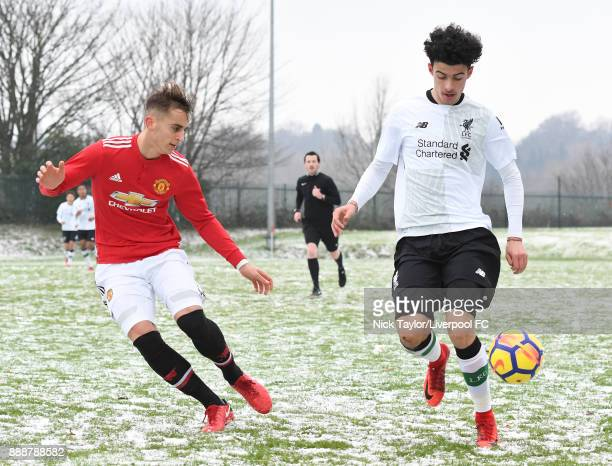 Curtis Jones of Liverpool and Luca Ercolani of Manchester United in action during the Manchester United v Liverpool U18 Premier League game at The...