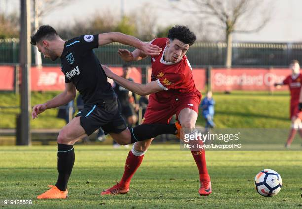 Curtis Jones of Liverpool and Sead Haksabanovic of West Ham United in action during the Liverpool v West Ham United PL2 game at The Kirkby Academy on...