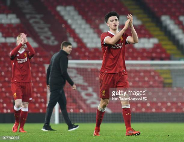 Curtis Jones of Liverpool applauds the fans after the Liverpool v Arsenal FA Youth Cup game at Anfield on January 20 2018 in Liverpool England