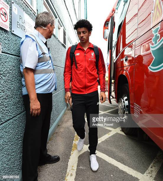 Curtis Jones of Liverpool arrives before a preseason friendly match between Tranmere Rovers and Liverpool at Prenton Park on July 10 2018 in...