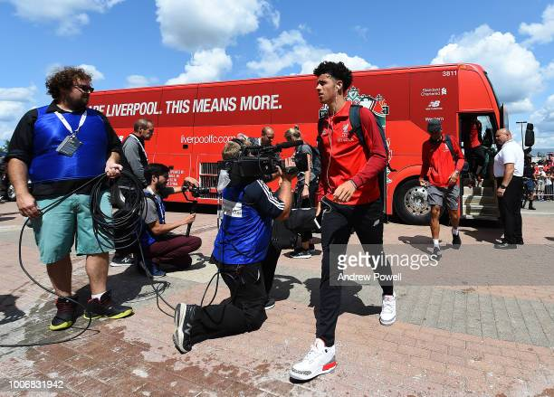 Curtis Jones of Liverpool arrives before the International Champions Cup 2018 match between Manchester United and Liverpool at Michigan Stadium on...